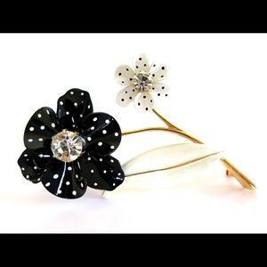 Vintage Enamel Flower Polka Dot Brooch Avon